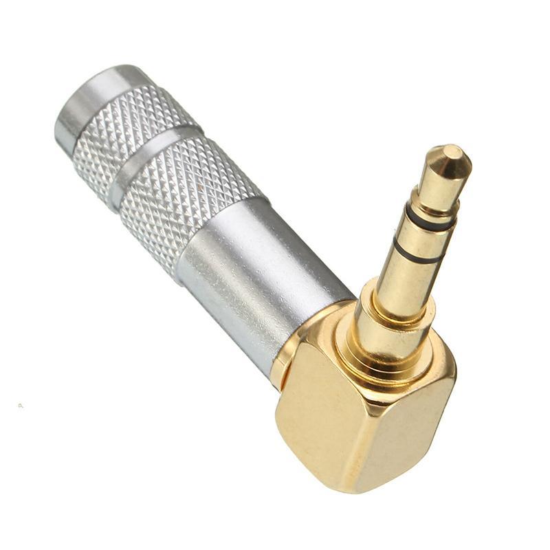 LEORY 1/2/5/10Pcs Gold 3.5mm Stereo Male Plug <font><b>90</b></font> <font><b>degree</b></font> Audio