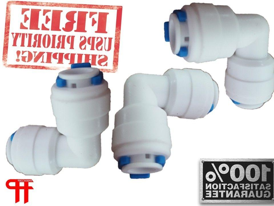 """1/4"""" Quick Push Fit 90 Elbow Reverse Osmosis R.O. FDA 3-PACK"""