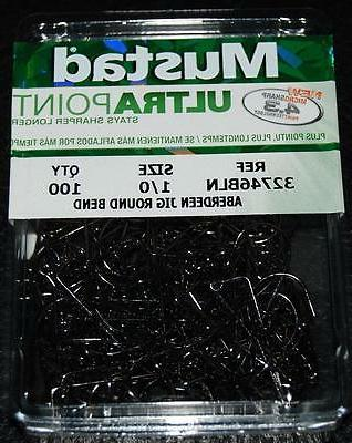 100 Mustad 32746BLN 1/0 ULTRA POINT 90 degree Jig Hooks Prem