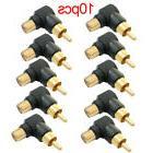 10Pcs RCA right angle adapter plug M/F male to female 90 deg
