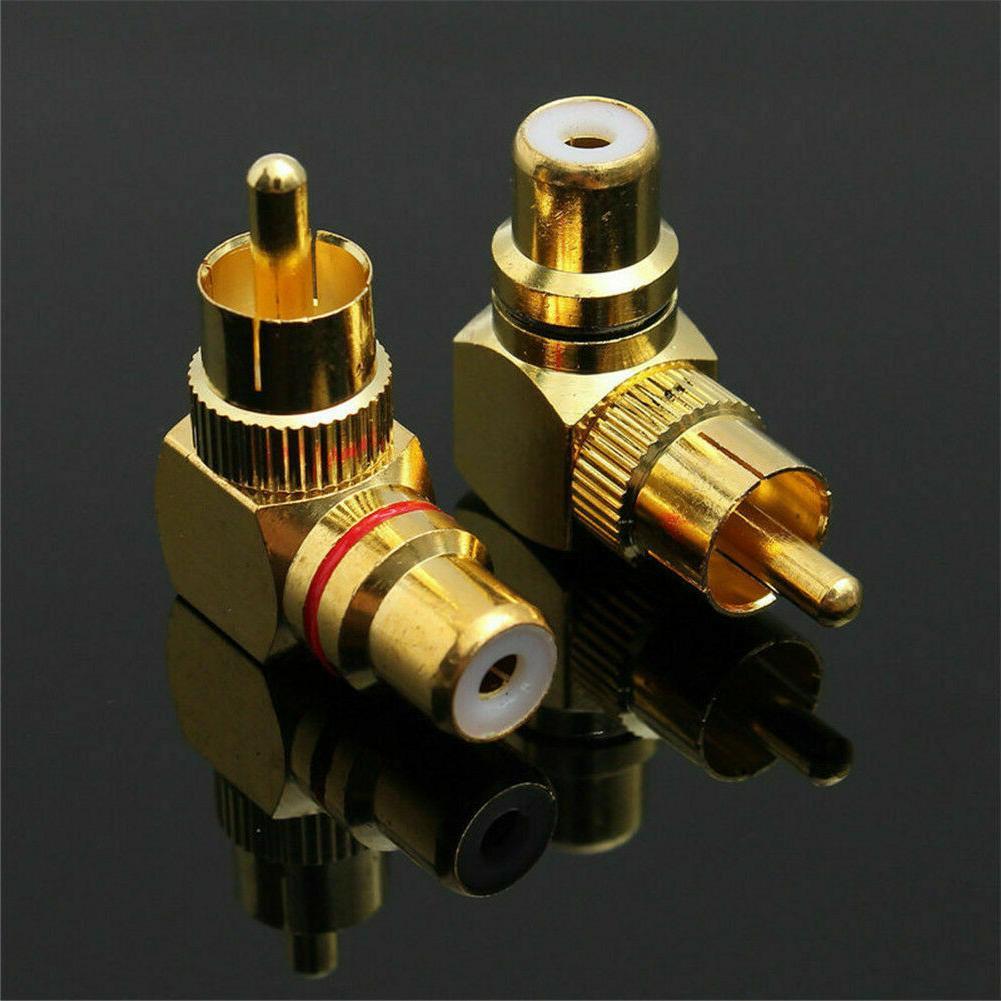 2pcs 90 Degree Brass Angle Gold Plated Connector Plug PipJKU