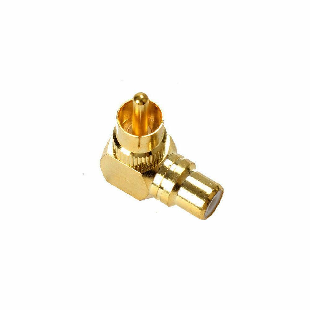 2pcs 90 Degree Adapters Brass RCA Gold Plug PipJKU