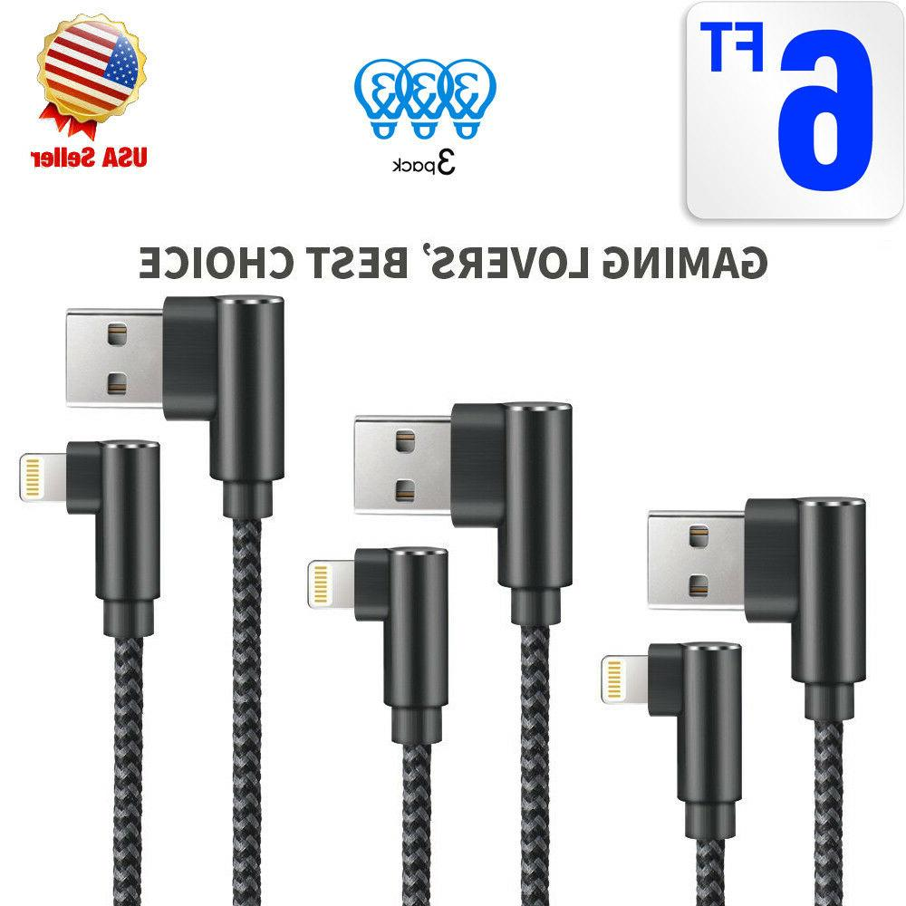 3 Pack 6ft Right Angle 90 Degree Lightning Charger Cable & D