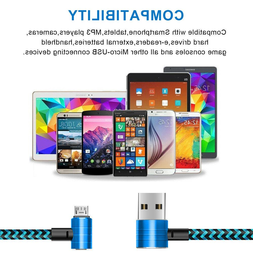 3 Pack 6 90 Degree Right Angle Micro USB Cable for