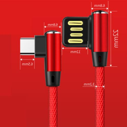 3-PACK 10ft Micro 90 Degree Angle Charger for Samsung