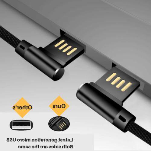 3-PACK 10ft Micro USB 90 Degree Charger Samsung
