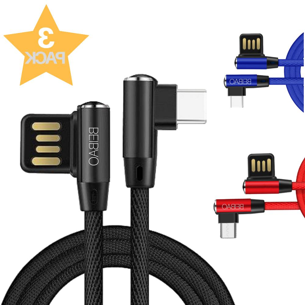 3 pack 10ft micro usb 90 degree