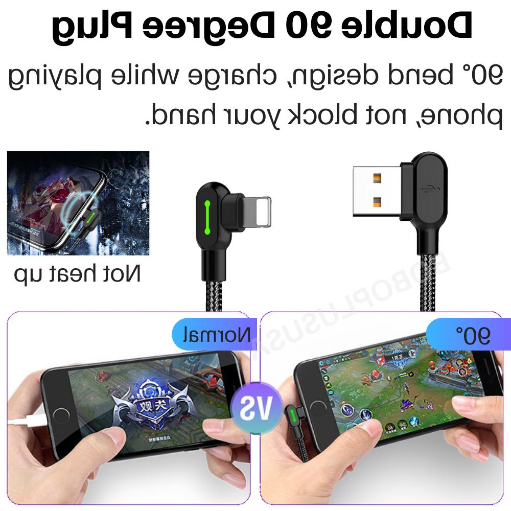 3 Degree Braided LED Data Charger Lot For iPhone