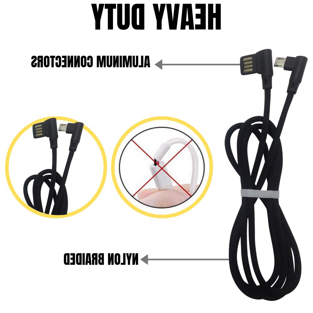 3 Degree Right Angle Micro USB Charging Cable 6Ft