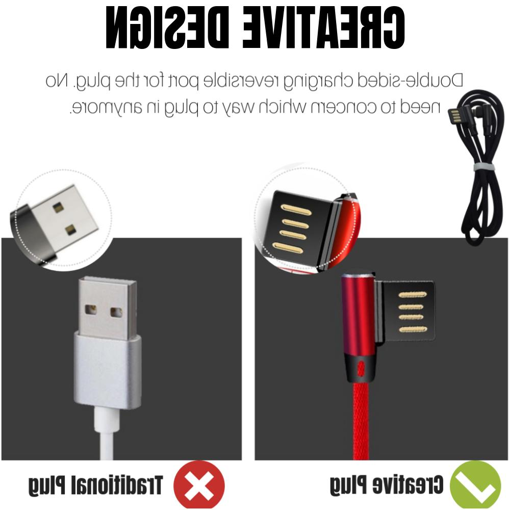 3 Fast 90 Degree Right USB Charging Cable 3Ft 6Ft 10Ft Samsung