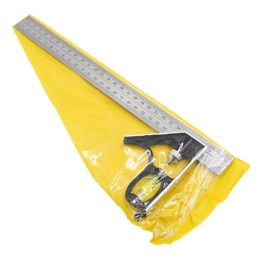 300Mm Adjustable Combination Square Angle Ruler 45 / <font><b>90</b></font> <font><b>Degree</b></font> With Level Gauge Measuring Tools