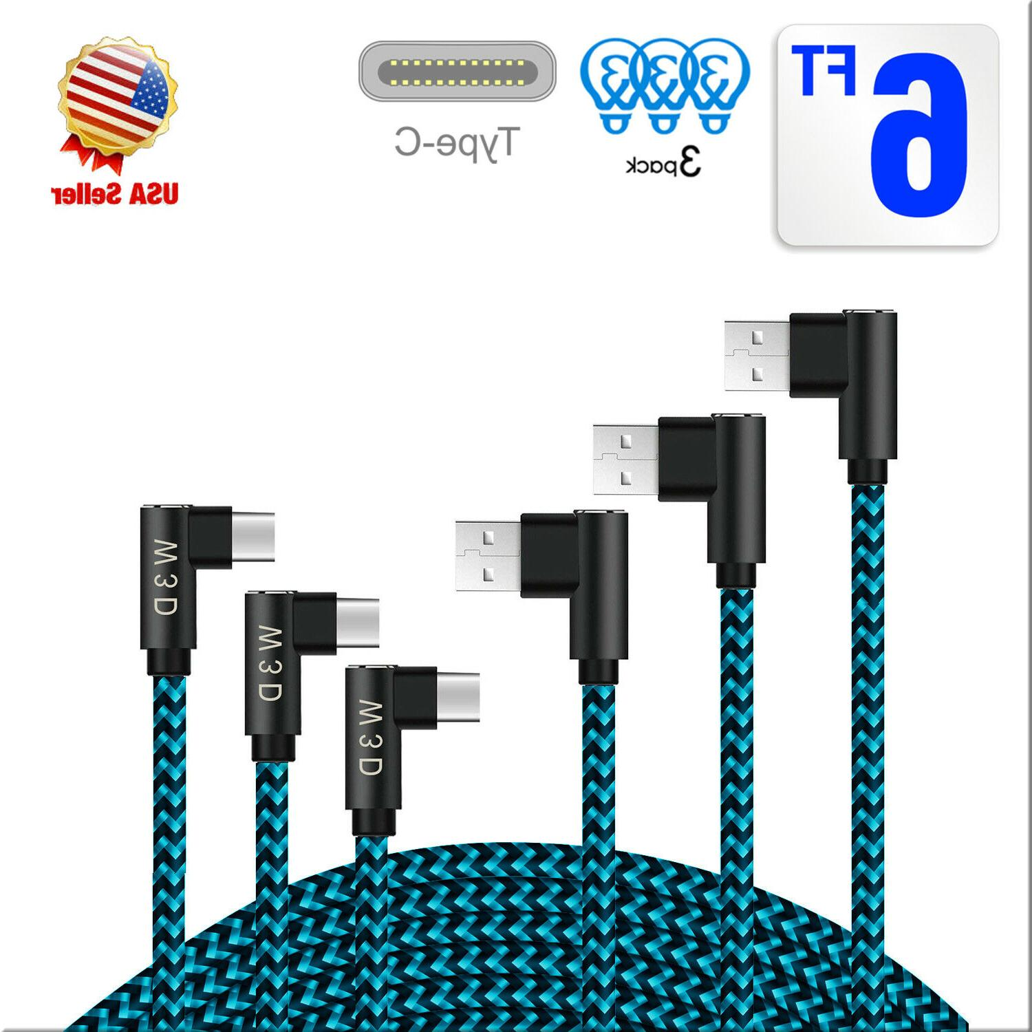 3Pack Braide Right Angle USB C Cord,90 Degree USB to Type C