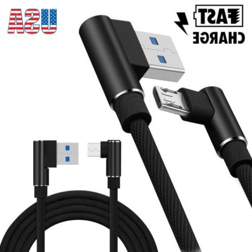5x Braided 90 Degree Right Angle Type C/ Micro USB Fast Data