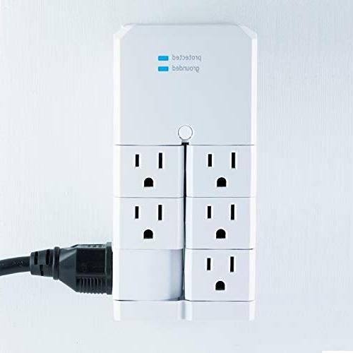 GE Surge Protector Tap Outlets, Degree Rotating Outlets, 1080 Joules, 37063