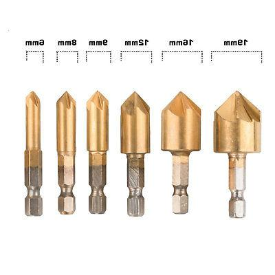 6-pack 5-Flute Bit 90 Center Punch