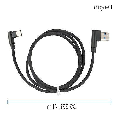 Fast Data Sync Charger Type C Micro USB Cable Braided 90 Deg