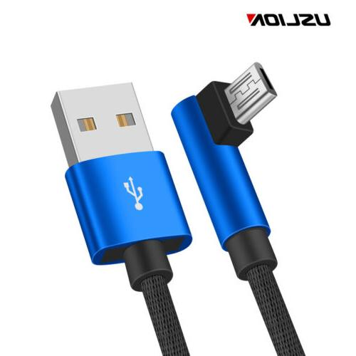 90 Degree Angle Micro USB Cable Fast Charging Data Sync Phon