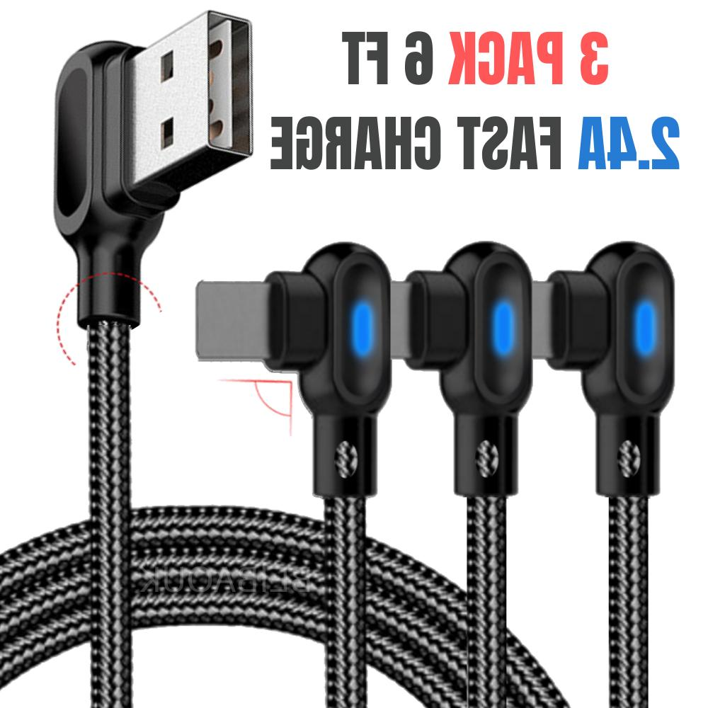 90 degree braided iphone charger 6ft usb
