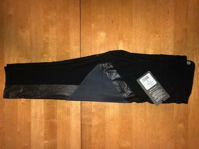 90 Women's Capri Leggings-NWT-BLACK GUNMETAL DESIGN-SIZE S