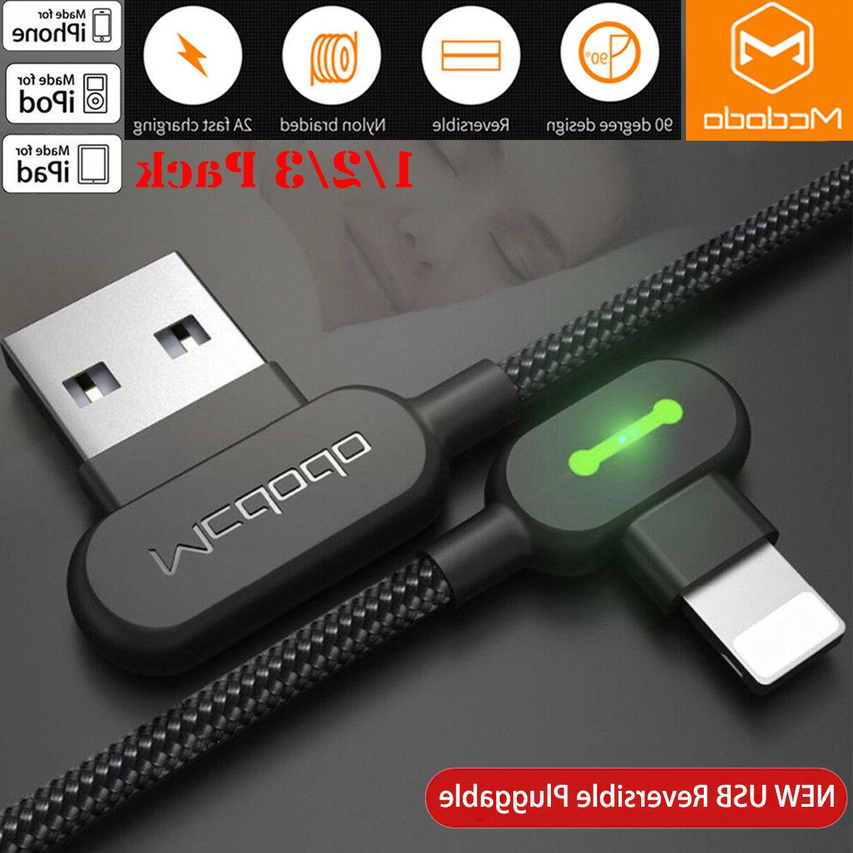 90 degree elbow lightning usb charger cable