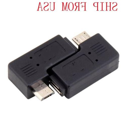 90 Degree Left / Right  Angle Micro USB B Male to Female Plu