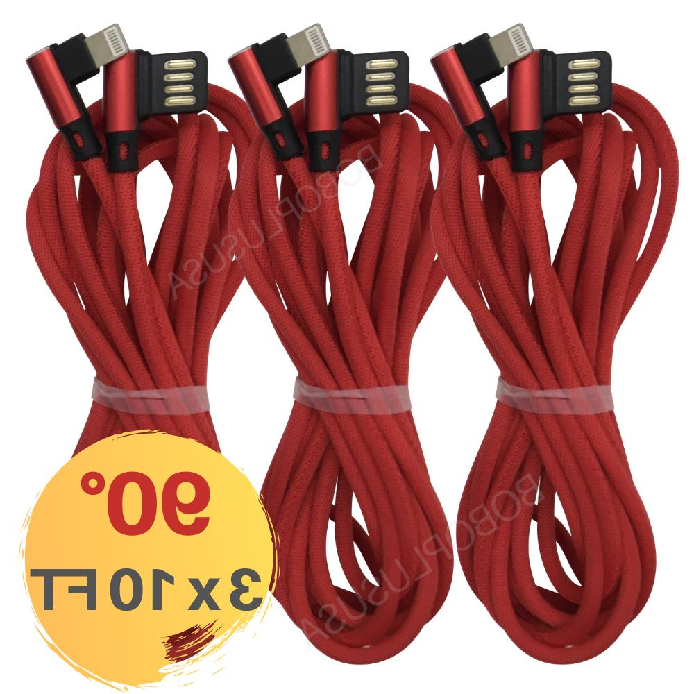 90 degree lightning cable 10ft 3pack braided