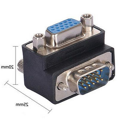90 Degree Right Angle 15 Pin VGA SVGA Male to Female Convert