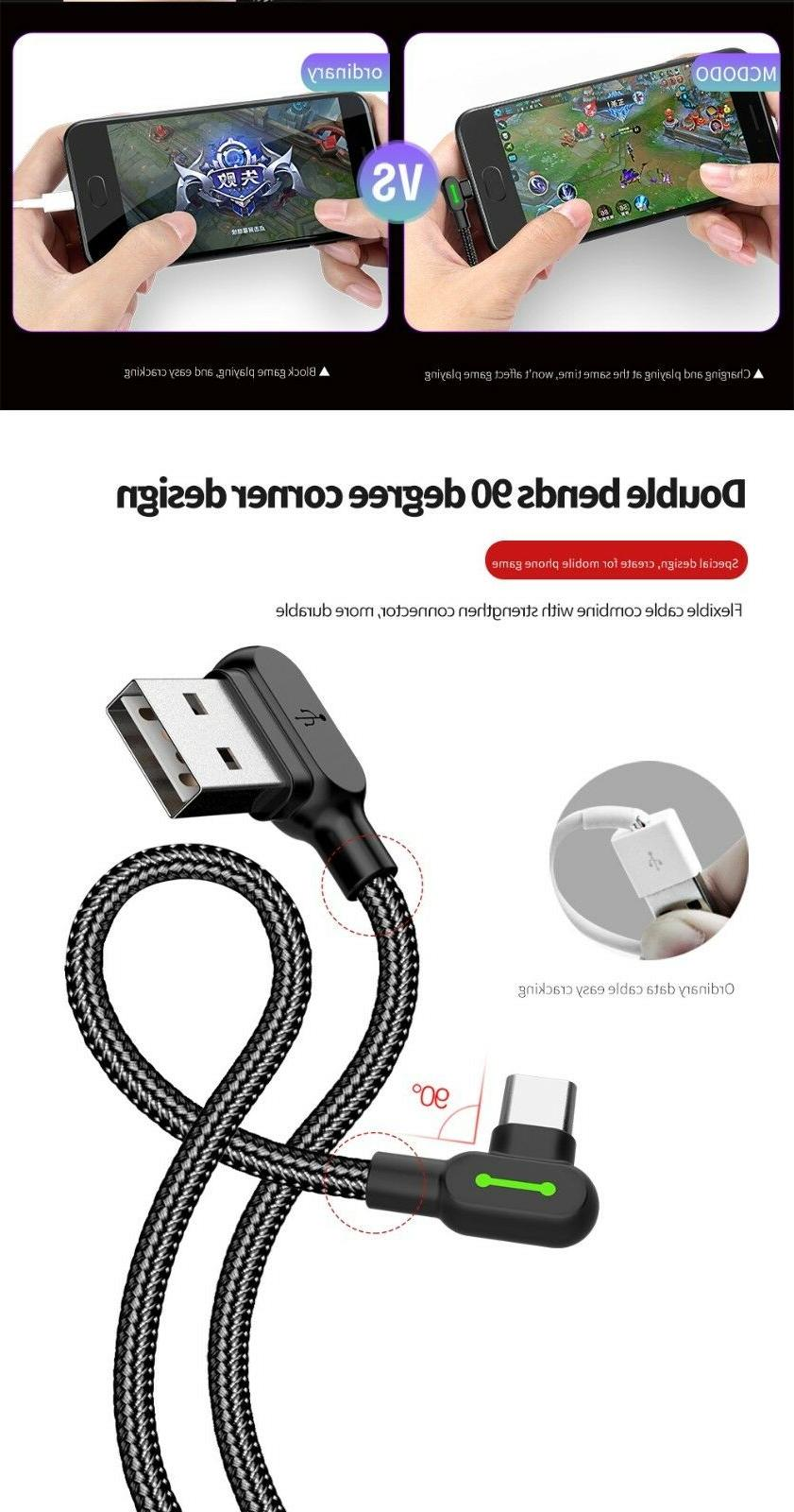 MCDODO Angle Braided USB Charging Sync Type C Cable