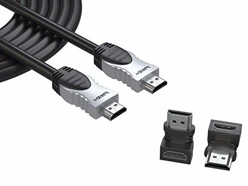 Pwr+ 50 Ft 4K HDMI Cable 2.0 with 90 Degree Adapter for PS3