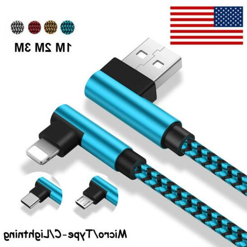 US USB Cable For iPhone 5 6 7 8 Plus X Braided 90 Degree Lig