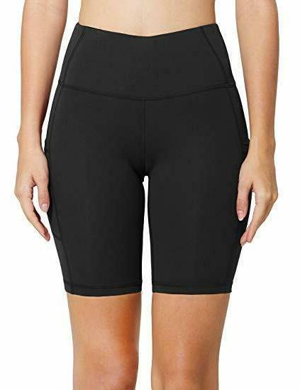 "Baleaf Women's 5"" High Waist Workout Yoga Shorts Control Side"