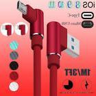 Braided 90 Degree Type C / Micro USB Fast Charging Data Sync
