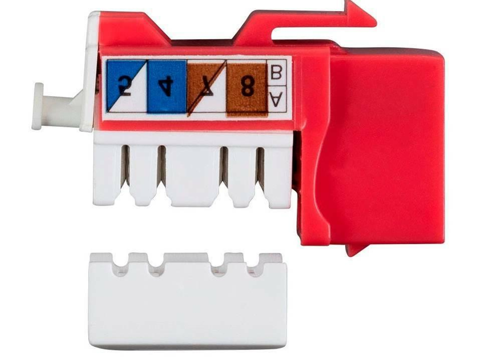 Cat6A Punch Keystone Dual Type IDC, Pack, Red