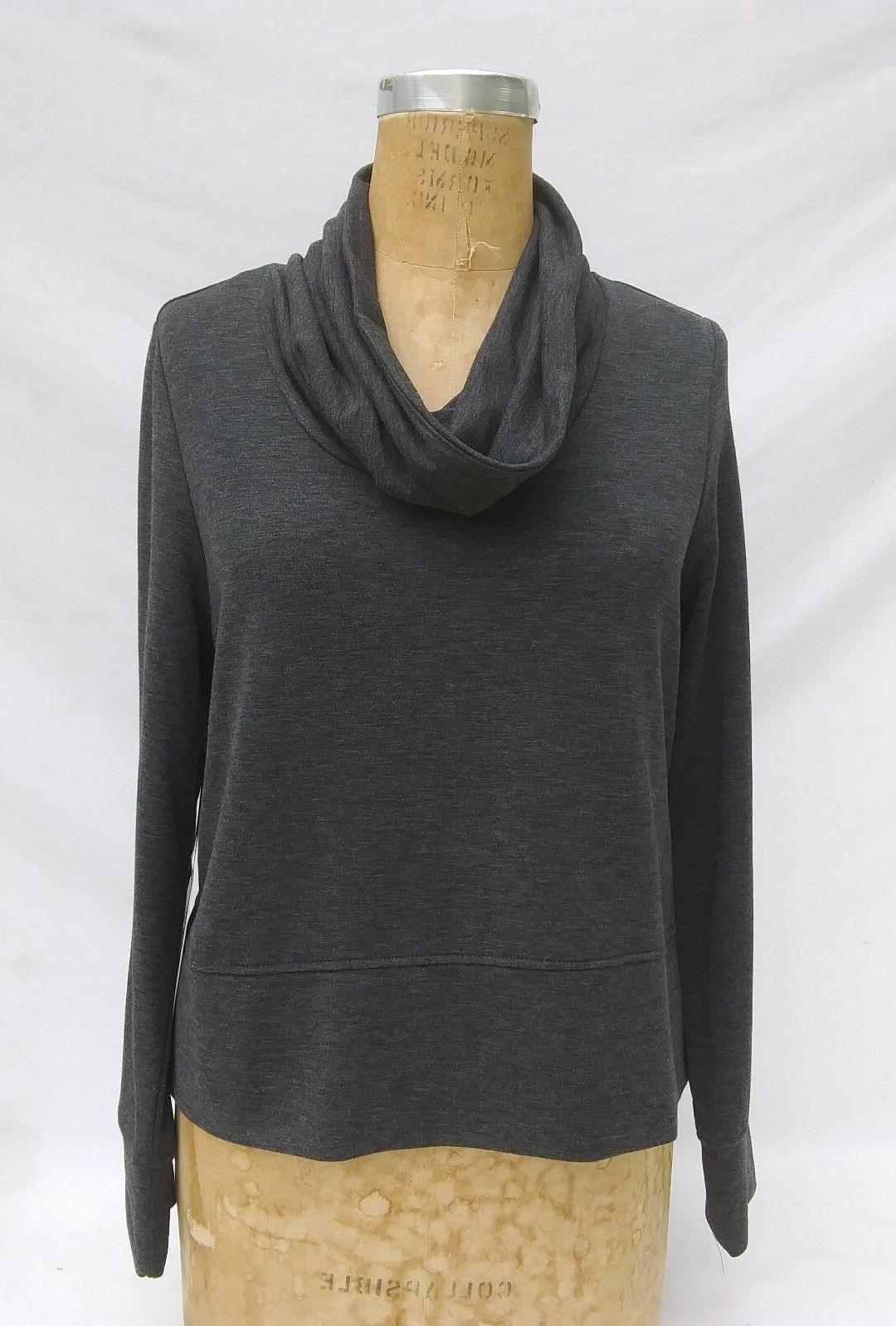 charcoal gray casual top cowl neck womens
