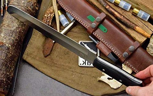CFK USA Custom Handmade Tool Steel BOSS Machete Bushcraft & Horizontal Leather Sheath Fire Starter CFK117