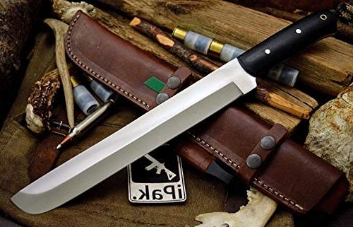 "CFK Company IPAK USA Handmade Tool 16"" Trail BOSS Bushcraft Knife Horizontal Leather Sheath & Fire Set CFK117"