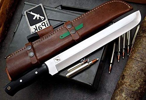 CFK USA Custom D2 Tool Steel BOSS Machete Hunting Bushcraft Horizontal Leather Sheath Fire Rod CFK117