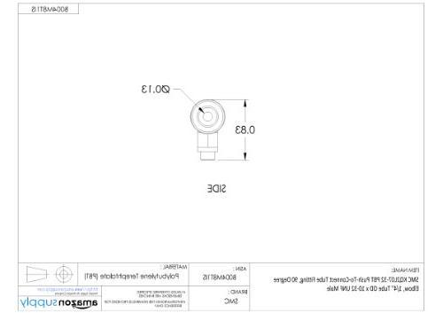 "SMC KQ2L07-32A PBT & Brass 90 Degree Elbow, 1/4"" Tube OD UNF Male"