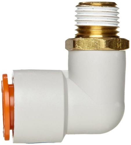 """SMC KQ2L11-37AS Brass Push-to-Connect Tube with Elbow, 3/8"""" Tube x 1/2"""" NPT"""