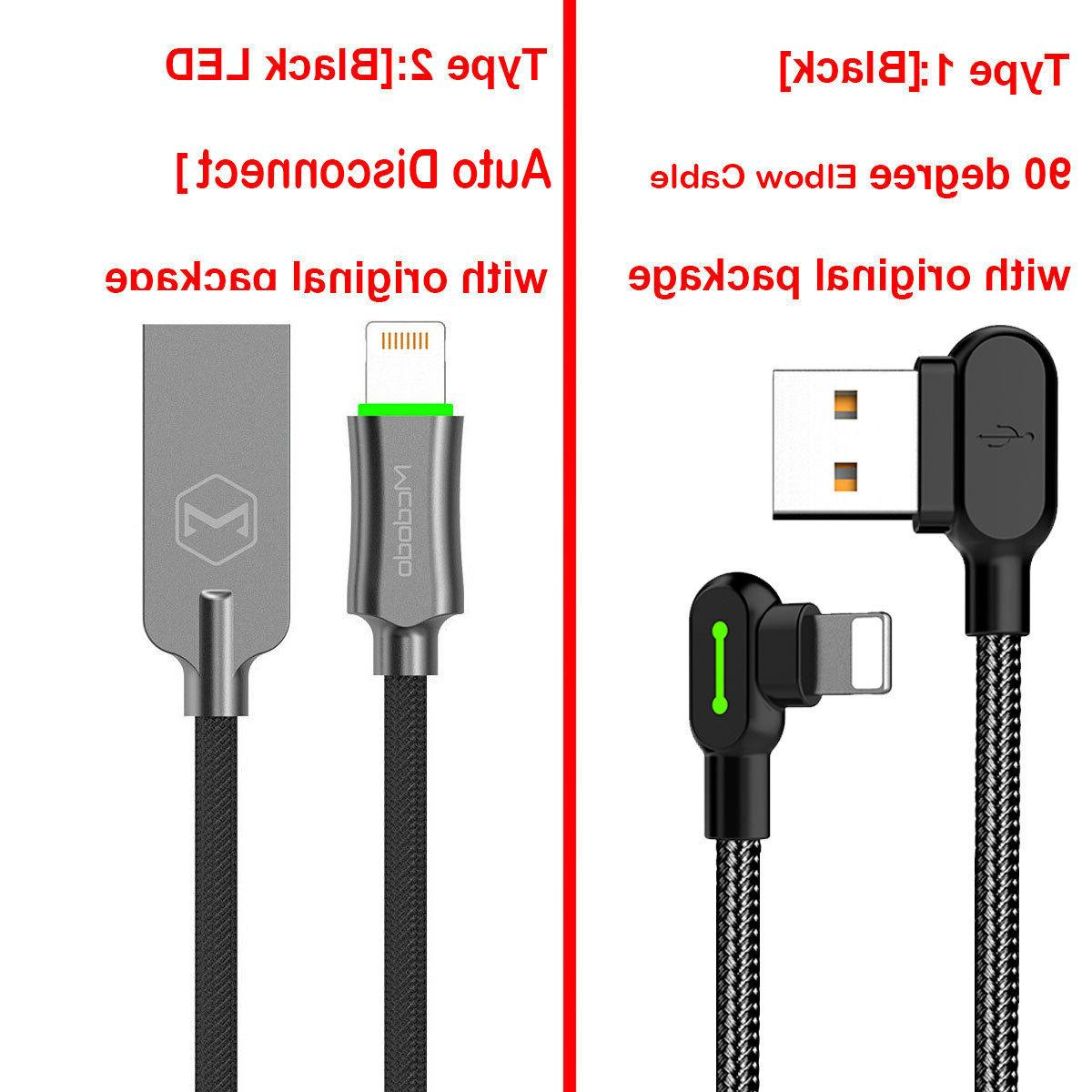 LOT Led Right Angle USB Charger lightning Cable iPhone 7