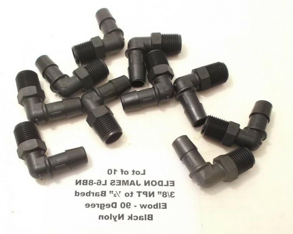 """Lot of 10 ELDON JAMES 3/8"""" NPT to 1/2″ Barbed Elbow - Blac"""