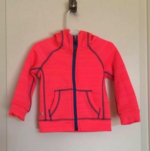 NEW 90 Degree Baby toddler Girl Zip Up Neon Coral Hoodie, SZ