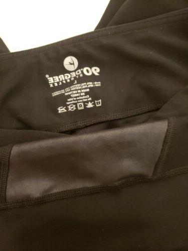NWOT Reflex Degree Sz LARGE Black leather Squares Leggings Never worn