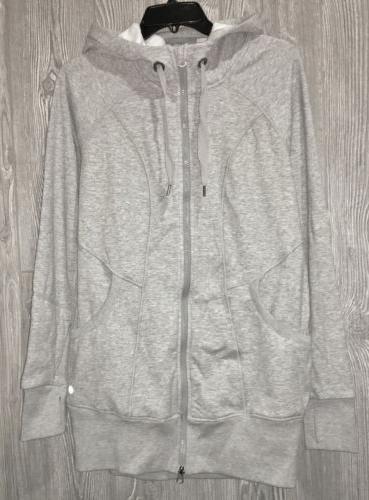 reflex long tunic length grey fleece sweatshirt