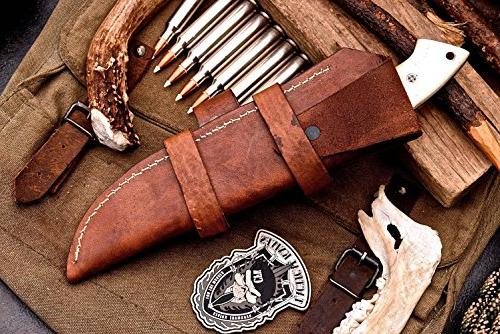 CFK Cutlery Custom SHEEPSFOOT Chopper Hunting Knife with Leather Starter Rod Wet Stone Sharpener