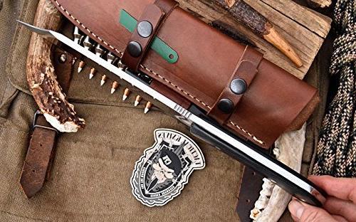 CFK Company USA SHEEPSFOOT Camping Hunting Knife Leather Sheath & Starter Stone Sharpener