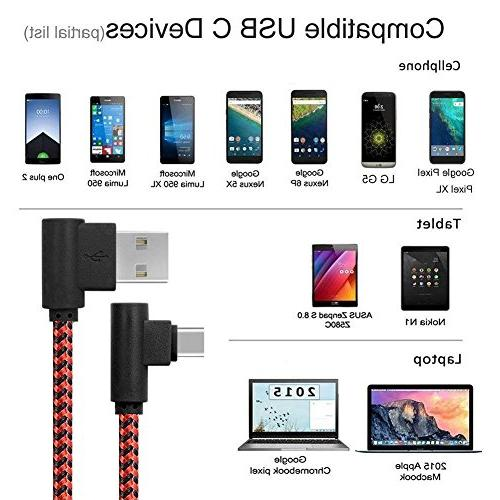 C Cable, 3 90 Degree Cable, C Charging Cord for Galaxy S8 S9 Note 8 9,LG G6 G5,Google XL,Nexus 6P 5X