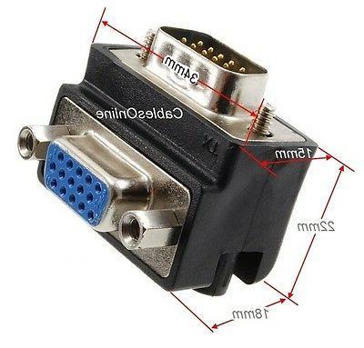 VGA HD15 90-degree 15-Pin Male to
