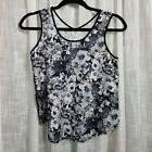 90 degree women's tank top black white floral vented XS scoo