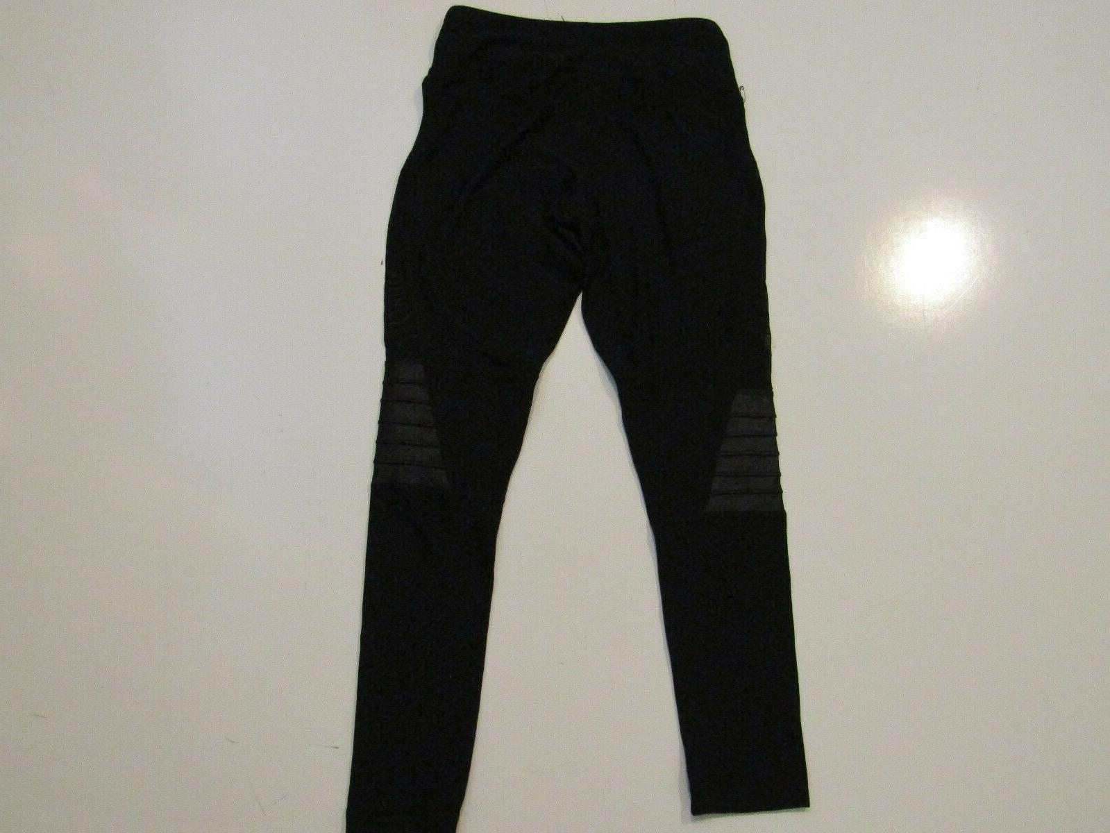 90 DEGREE BY Womens Black Active Exercise Running Pants Mesh Panel S NEW